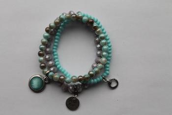 armbanden set turquoise gemeleerd