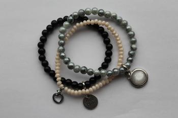 armbanden set zwart/grijs gemeleerd